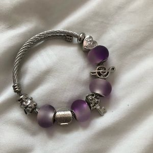 Lovely Purple Silver Bracelet with Charms